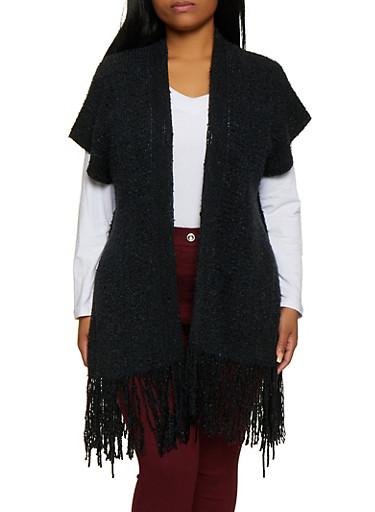 Fringe Chenille Kimono,BLACK,large