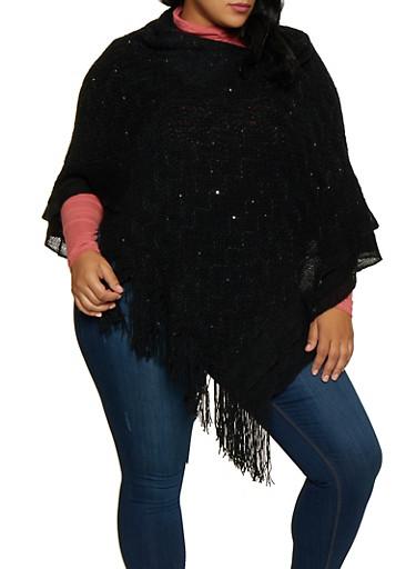 Sequin Knit Poncho,BLACK,large
