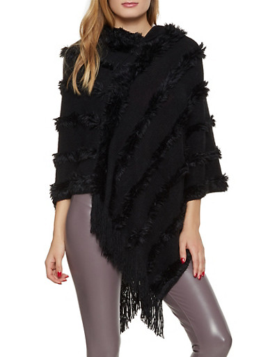 Hooded Faux Fur Striped Poncho,BLACK,large