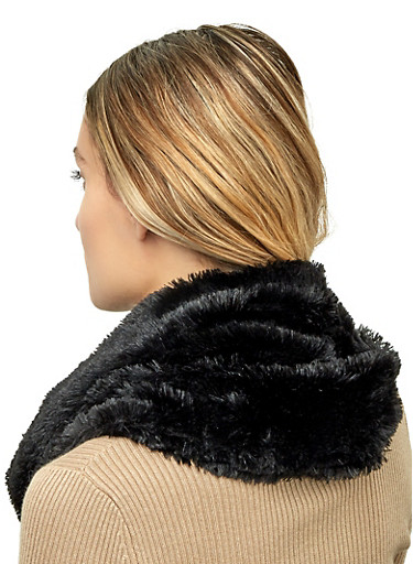Infinity Faux Fur Scarf,BLACK,large