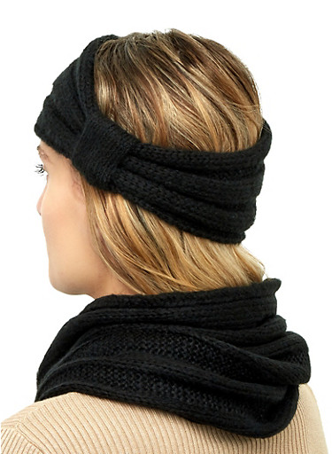 Knit Snood and Knot Front Head Wrap,BLACK,large