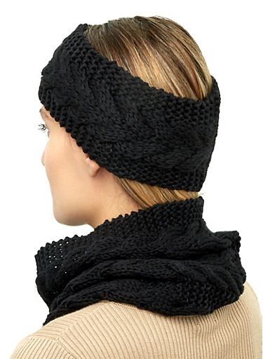 Knit Snood and Head Wrap,BLACK,large