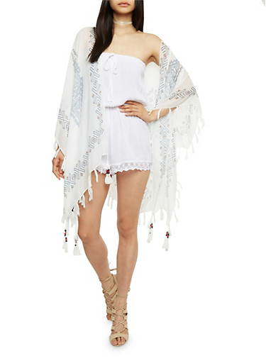 Aztec Printed Kimono with Fringe Trim,WHITE,large