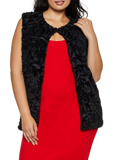 Floral Faux Fur Vest,BLACK,large