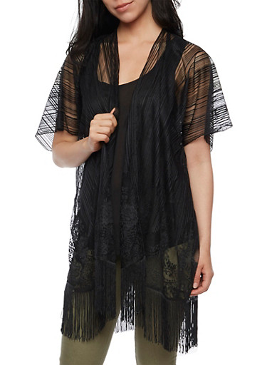 Mesh Lace Kimono with Fringe Hem,BLACK,large