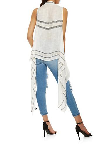 Striped Detail Gauze Knit Vest | Tuggl