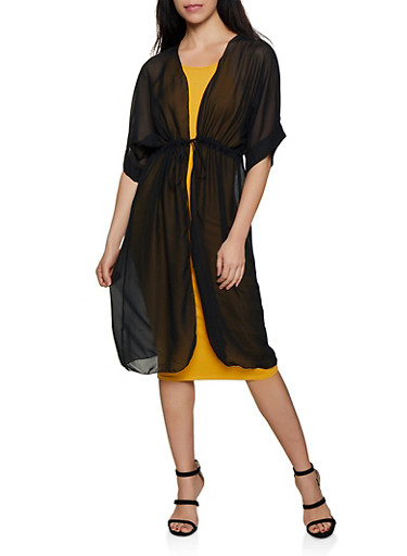 Tie Front Duster,BLACK,large