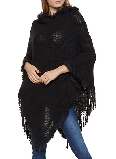 Hooded Knit Poncho,BLACK,large