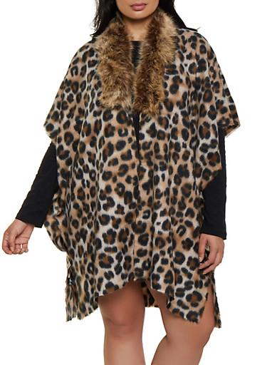 Faux Fur Trim Leopard Kimono,BROWN,large