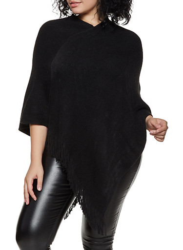 Solid Fringe Poncho,BLACK,large