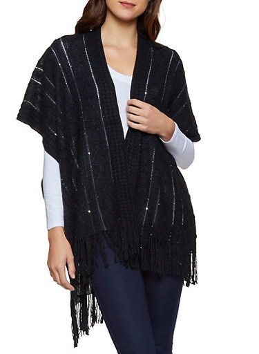Sequin Knit Shawl,BLACK,large