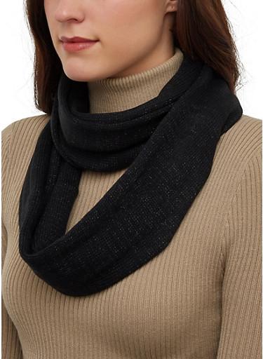 Glitter Knit Infinity Scarf,BLACK,large