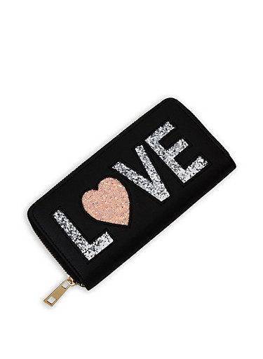Love Glitter Graphic Zip Wallet,BLACK,large