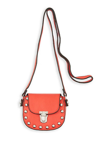 Studded Mini Saddle Crossbody Bag,RED,large