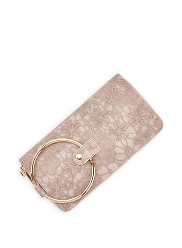Stitched Double Zip Wallet,MAUVE,large