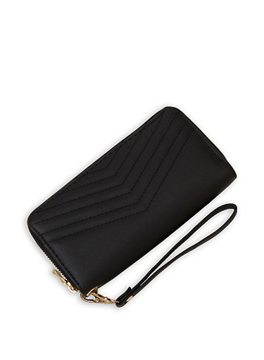 Chevron Stitch Zip Wallet,BLACK,large