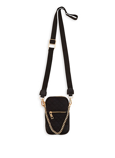Quilted Chain Detail Crossbody Bag,BLACK,large