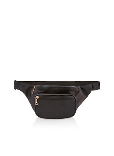 Double Zip Nylon Fanny Pack   3126067440319,BLACK,large