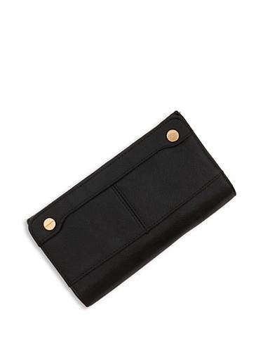 Magnetic Snap Tri Fold Wallet,BLACK,large