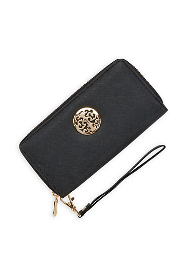 Metallic Detail Faux Leather Zip Wallet,BLACK,large