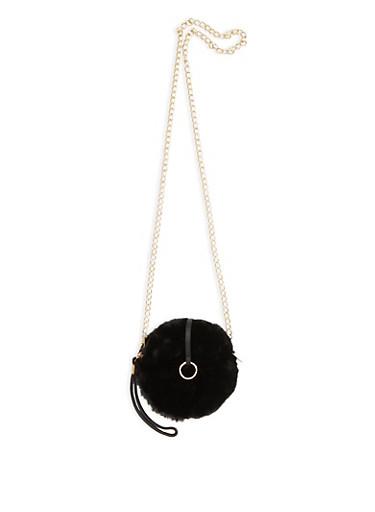 Faux Fur Crossbody Bag,BLACK,large