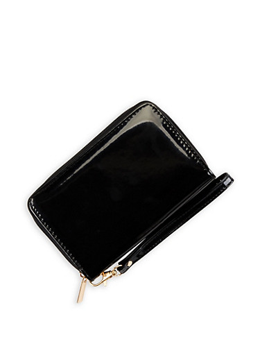Faux Patent Leather Wristlet,BLACK,large