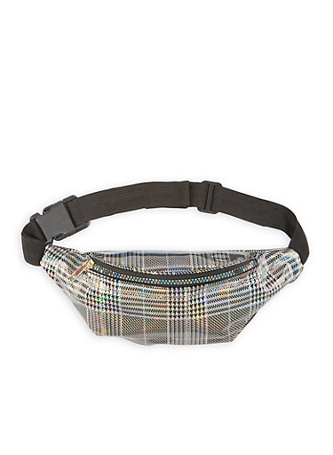Holographic Plaid Fanny Pack,SILVER,large