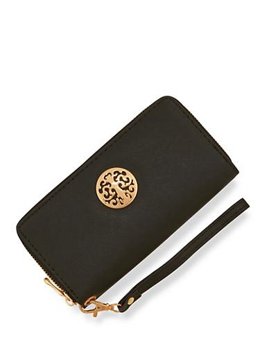 Zip Around Wallet with Metallic Medallion,BLACK,large