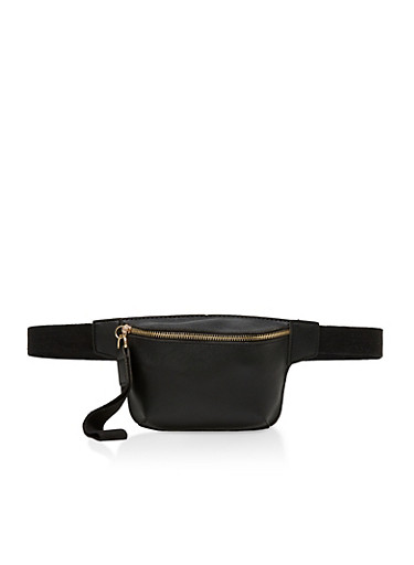 Faux Saffiano Leather Fanny Pack | 3126067443509,BLACK,large