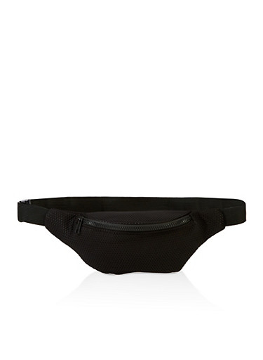 Perforated Knit Fanny Pack,BLACK,large