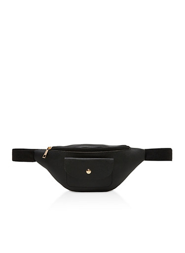 Faux Leather Fanny Pack,BLACK,large