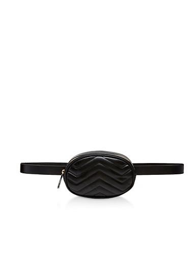 Quilted Faux Leather Belt Bag,BLACK,large