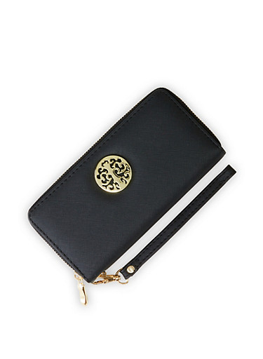 Metallic Emblem Zip Wallet,BLACK,large