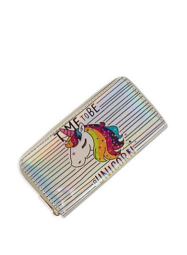 Rainbow Unicorn Graphic Wallet,SILVER,large