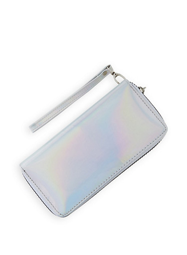 Holographic Double Zip Wallet   3126067445609,SILVER,large