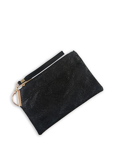 Textured Faux Leather Wristlet | 3126067445990,BLACK,large
