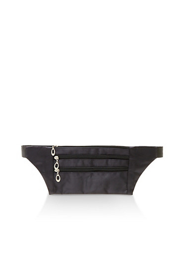 Triple Zip Slim Satin Fanny Pack,BLACK,large