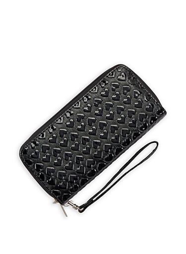Heart Embossed Double Zip Wallet,BLACK,large