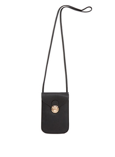 Faux Leather Cell Phone Purse,BLACK,large