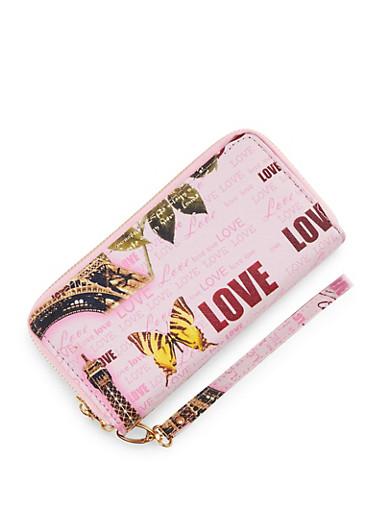 Paris Love Double Zip Wallet,PINK,large