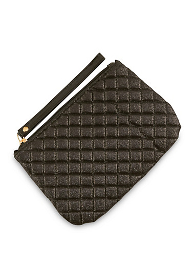 Quilted Glitter Wristlet,BLACK,large