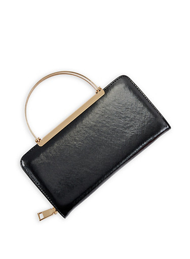 Faux Leather Wallet with Metallic Handles,BLACK,large