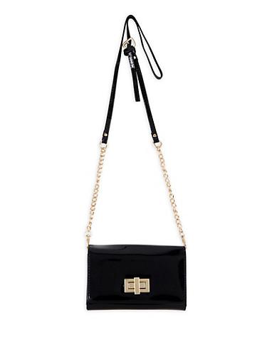 Flap Crossbody Bag,BLACK,large