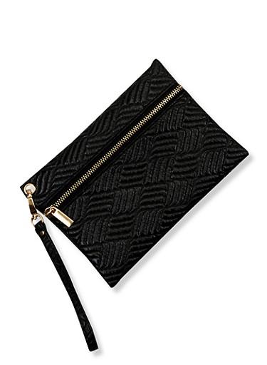 Faux Textured Leather Wristlet,BLACK,large