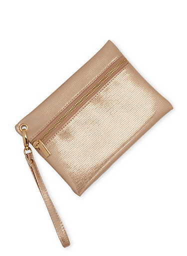 Faux Textured Leather Wristlet - 3126067447119