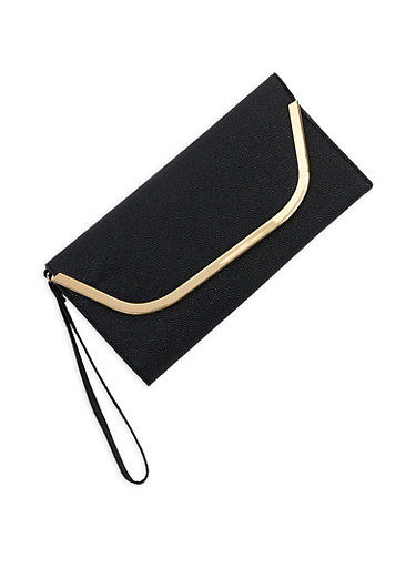 Faux Leather Metallic Edge Clutch | Tuggl