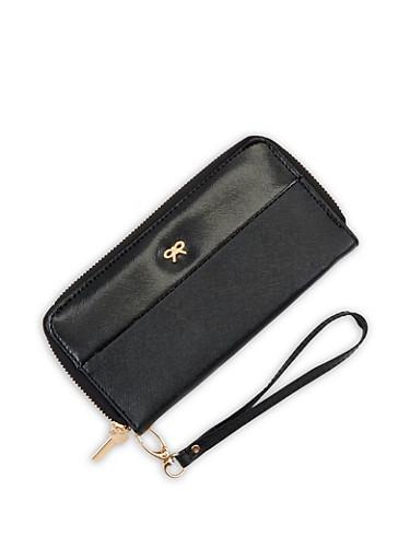 Faux Leather Bow Double Zip Wallet,BLACK,large