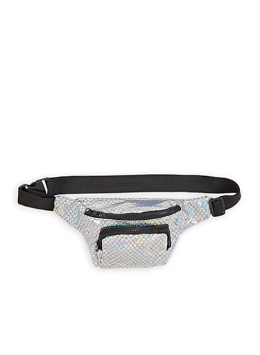 Holographic Mermaid Fanny Pack,SILVER,large