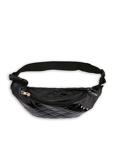 Quilted Faux Patent Leather Fanny Pack,BLACK,large