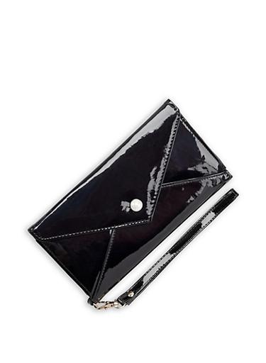 Faux Leather Envelope Wallet,BLACK,large